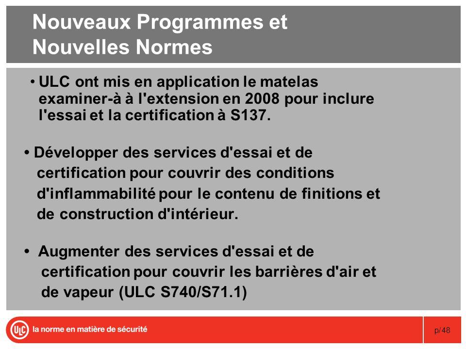 p/48 Nouveaux Programmes et Nouvelles Normes ULC ont mis en application le matelas examiner-à à l'extension en 2008 pour inclure l'essai et la certifi