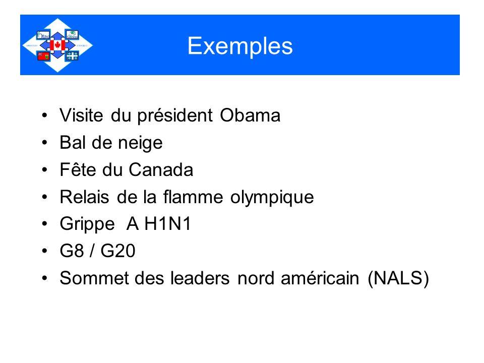 Exemples Visite du président Obama Bal de neige Fête du Canada Relais de la flamme olympique Grippe A H1N1 G8 / G20 Sommet des leaders nord américain (NALS)