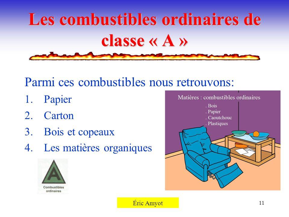 Pierre Rémillard11 Les combustibles ordinaires de classe « A » Parmi ces combustibles nous retrouvons: 1.Papier 2.Carton 3.Bois et copeaux 4.Les matiè