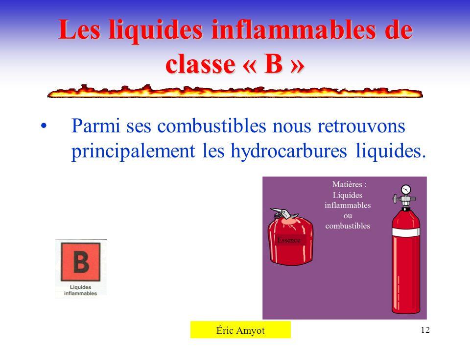 Pierre Rémillard12 Les liquides inflammables de classe « B » Parmi ses combustibles nous retrouvons principalement les hydrocarbures liquides. Éric Am