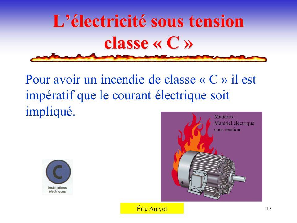 Pierre Rémillard13 Lélectricité sous tension classe « C » Pour avoir un incendie de classe « C » il est impératif que le courant électrique soit impli