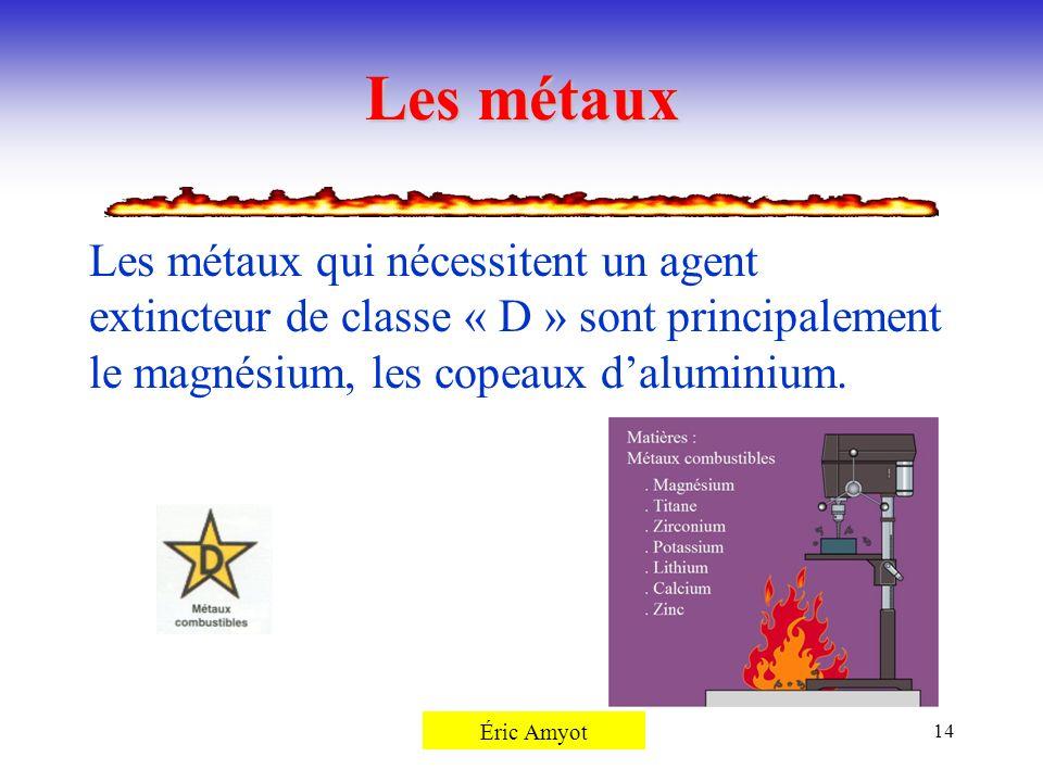 Pierre Rémillard14 Les métaux Les métaux qui nécessitent un agent extincteur de classe « D » sont principalement le magnésium, les copeaux daluminium.