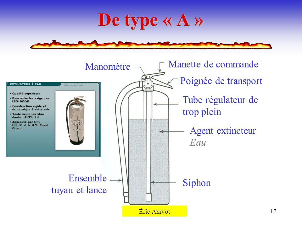 Pierre Rémillard17 De type « A » Manomètre Manette de commande Poignée de transport Tube régulateur de trop plein Agent extincteur Eau Siphon Ensemble