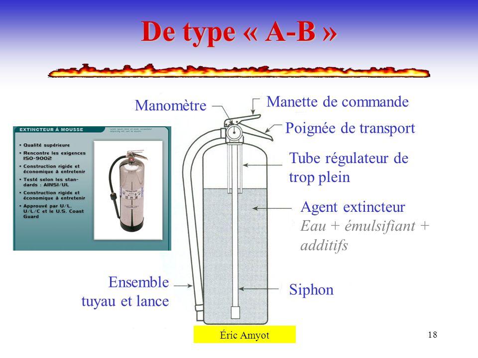 Pierre Rémillard18 De type « A-B » Manomètre Manette de commande Poignée de transport Tube régulateur de trop plein Agent extincteur Eau + émulsifiant