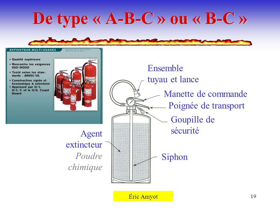 Pierre Rémillard19 De type « A-B-C » ou « B-C » Siphon Agent extincteur Poudre chimique Goupille de sécurité Poignée de transport Manette de commande