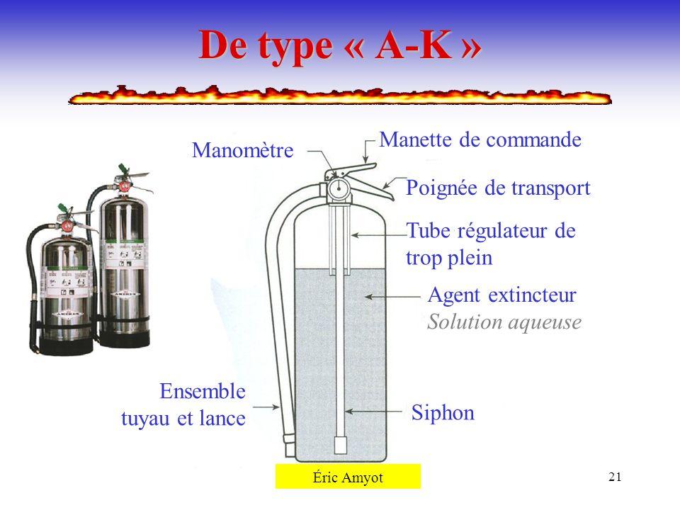 Pierre Rémillard21 De type « A-K » Manomètre Manette de commande Poignée de transport Tube régulateur de trop plein Agent extincteur Solution aqueuse