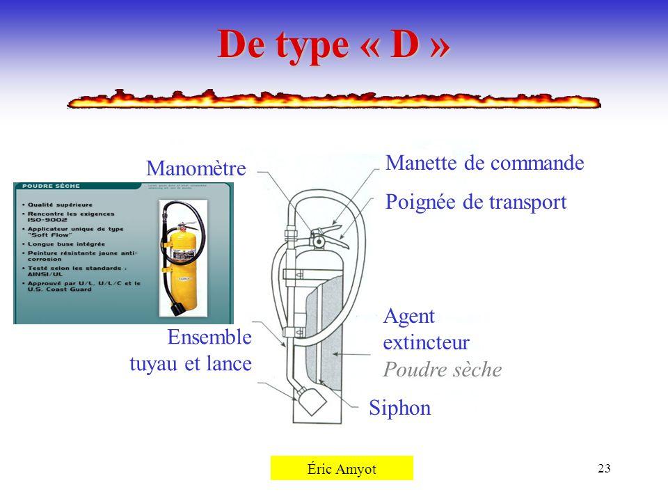 Pierre Rémillard23 De type « D » Siphon Agent extincteur Poudre sèche Poignée de transport Manette de commande Manomètre Ensemble tuyau et lance Éric