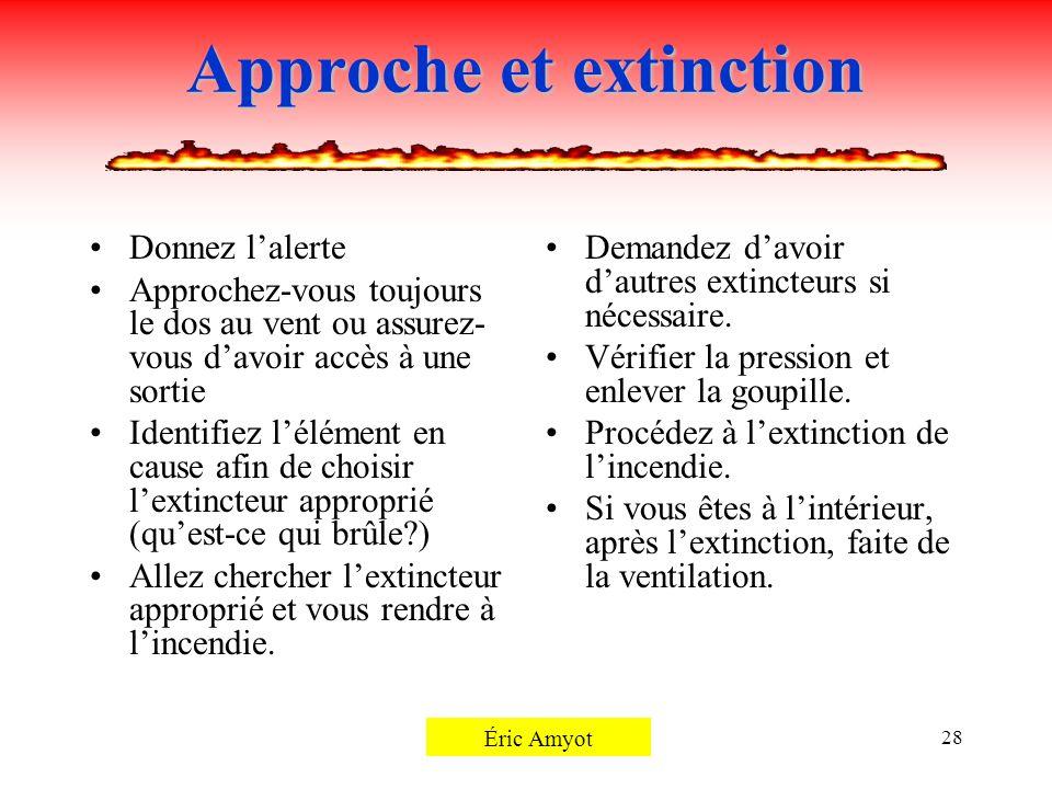 Pierre Rémillard28 Approche et extinction Donnez lalerte Approchez-vous toujours le dos au vent ou assurez- vous davoir accès à une sortie Identifiez