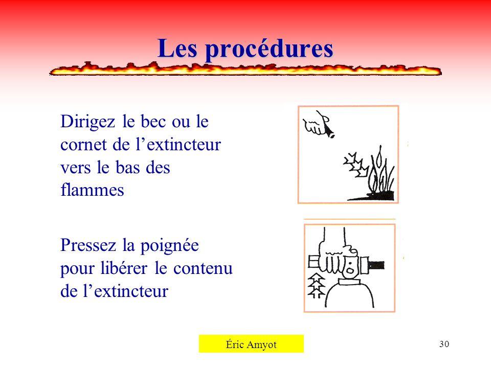 Pierre Rémillard30 Les procédures Dirigez le bec ou le cornet de lextincteur vers le bas des flammes Pressez la poignée pour libérer le contenu de lex