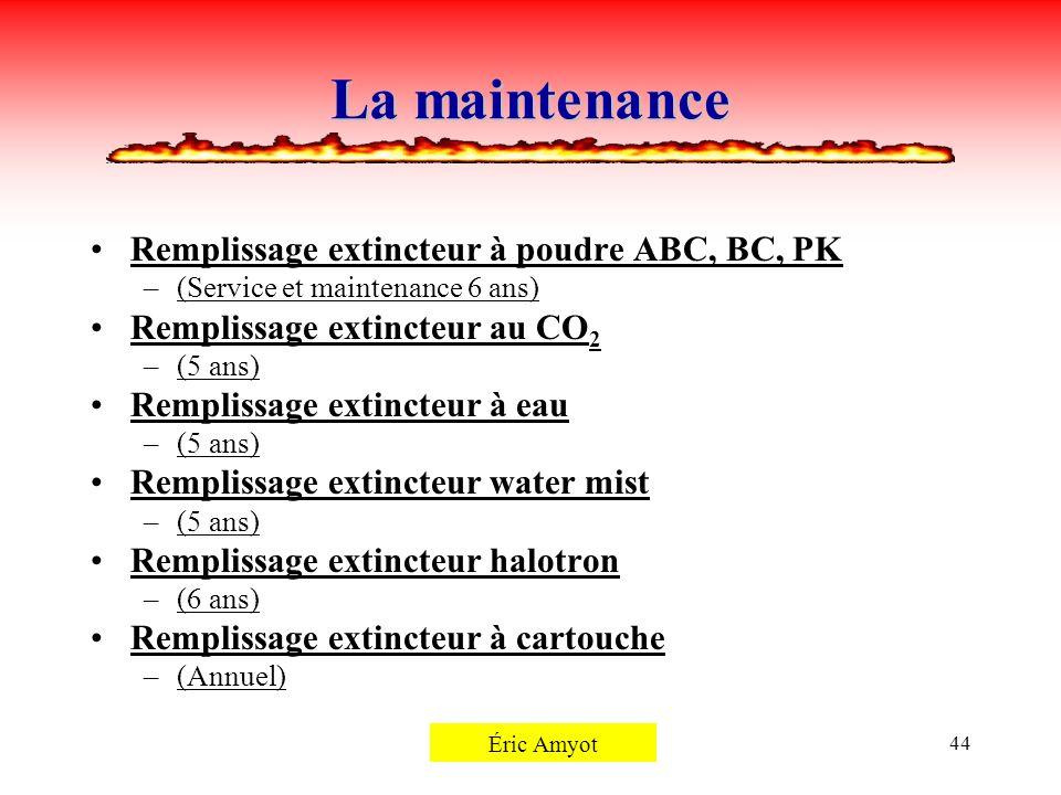 Pierre Rémillard44 La maintenance Remplissage extincteur à poudre ABC, BC, PK –(Service et maintenance 6 ans) Remplissage extincteur au CO 2 –(5 ans)