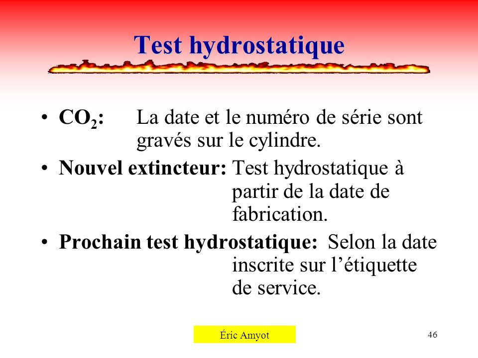 Pierre Rémillard46 Test hydrostatique CO 2 :La date et le numéro de série sont gravés sur le cylindre. Nouvel extincteur:Test hydrostatique à partir d