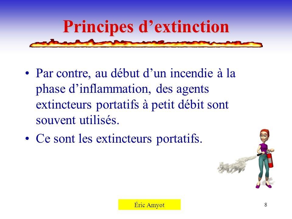 Pierre Rémillard8 Principes dextinction Par contre, au début dun incendie à la phase dinflammation, des agents extincteurs portatifs à petit débit son