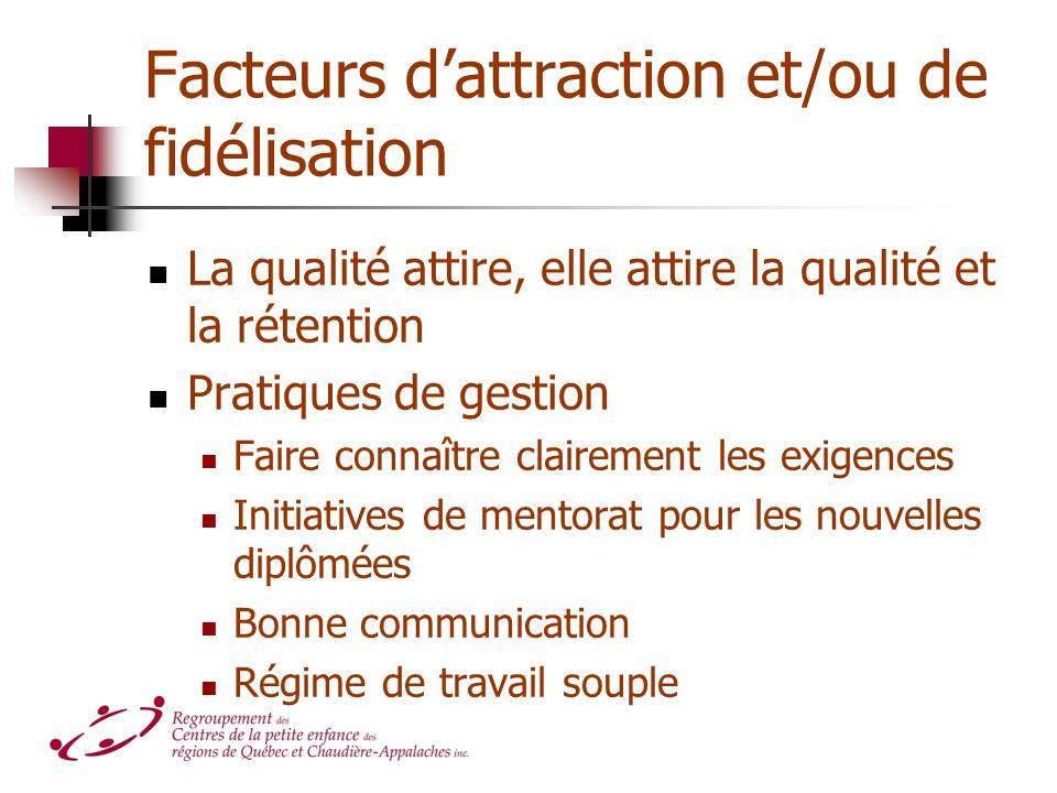 Facteurs dattraction et/ou de fidélisation La qualité attire, elle attire la qualité et la rétention Pratiques de gestion Faire connaître clairement l