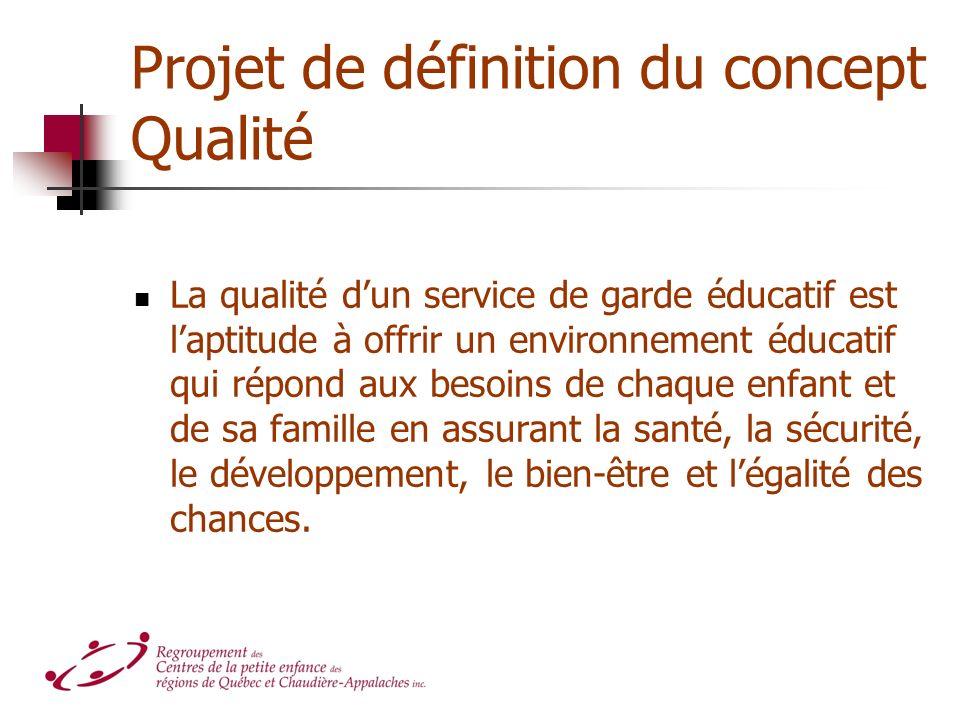 Projet de définition du concept Qualité La qualité dun service de garde éducatif est laptitude à offrir un environnement éducatif qui répond aux besoi