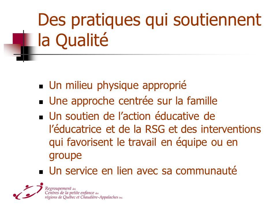 Des pratiques qui soutiennent la Qualité Un milieu physique approprié Une approche centrée sur la famille Un soutien de laction éducative de léducatrice et de la RSG et des interventions qui favorisent le travail en équipe ou en groupe Un service en lien avec sa communauté