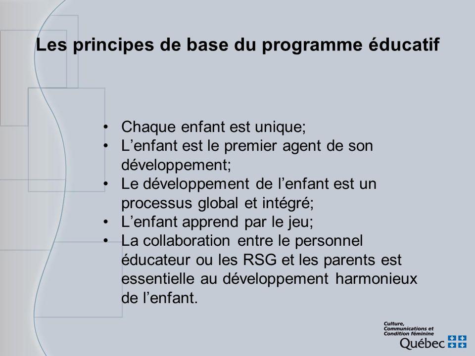 Les principes de base du programme éducatif Chaque enfant est unique; Lenfant est le premier agent de son développement; Le développement de lenfant e