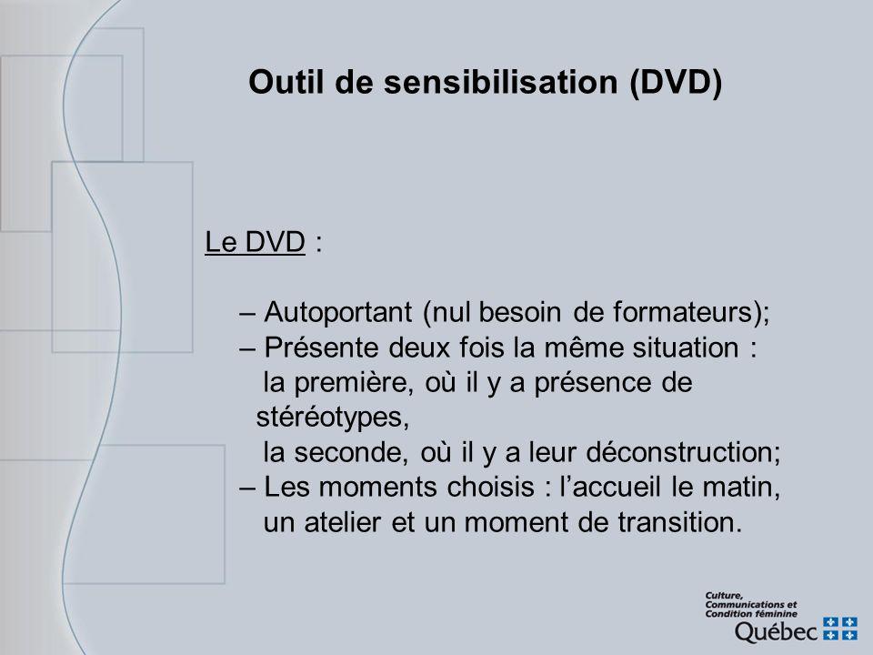 Outil de sensibilisation (DVD) Le DVD : – Autoportant (nul besoin de formateurs); – Présente deux fois la même situation : la première, où il y a prés