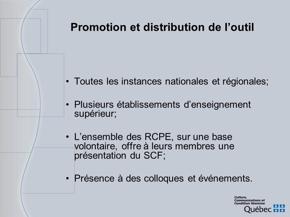 Promotion et distribution de loutil Toutes les instances nationales et régionales; Plusieurs établissements denseignement supérieur; Lensemble des RCP