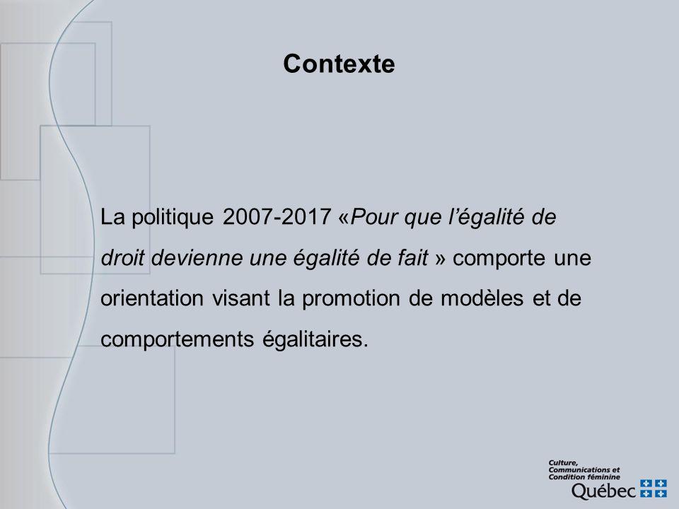 Contexte La politique 2007-2017 «Pour que légalité de droit devienne une égalité de fait » comporte une orientation visant la promotion de modèles et