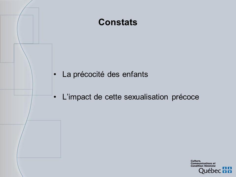 Constats La précocité des enfants Limpact de cette sexualisation précoce