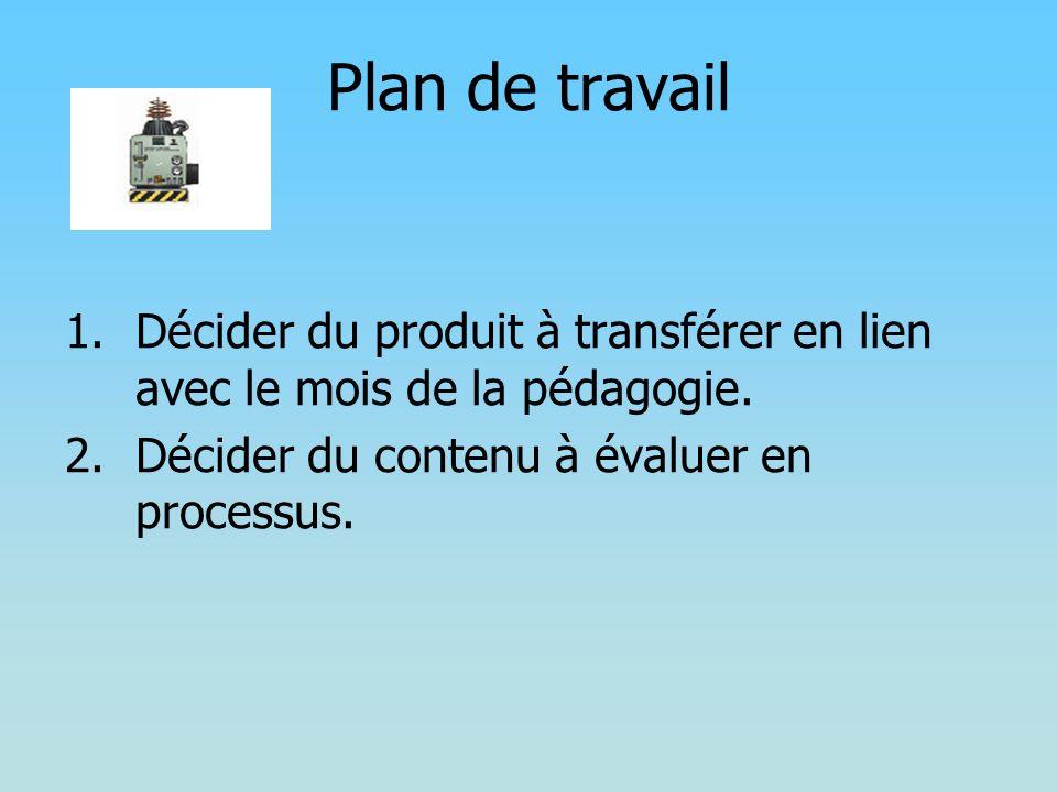 Plan de travail 1.Décider du produit à transférer en lien avec le mois de la pédagogie. 2.Décider du contenu à évaluer en processus.
