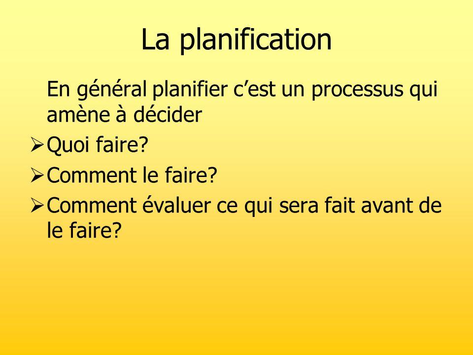 La planification En général planifier cest un processus qui amène à décider Quoi faire? Comment le faire? Comment évaluer ce qui sera fait avant de le