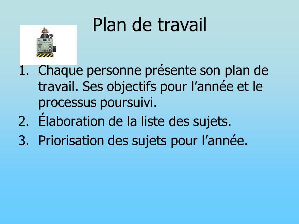 Plan de travail 1.Chaque personne présente son plan de travail. Ses objectifs pour lannée et le processus poursuivi. 2.Élaboration de la liste des suj