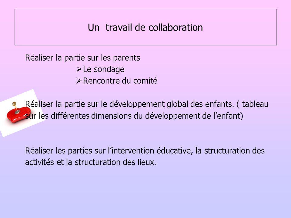 Un travail de collaboration Réaliser la partie sur les parents Le sondage Rencontre du comité Réaliser la partie sur le développement global des enfan