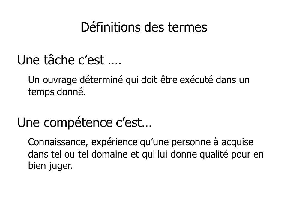 Définitions des termes Une tâche cest ….