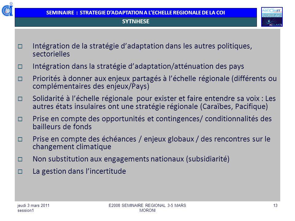 SEMINAIRE : STRATEGIE DADAPTATION A LECHELLE REGIONALE DE LA COI jeudi 3 mars 2011 session1 E2008 SEMINAIRE REGIONAL 3-5 MARS MORONI 14 LES ENJEUX TRANSVERSAUX ADAPTATION/ATTENUATION Adaptation : attention à la maladaptation Gestion de leau : Désalinisation = Adaptation à la réduction de la ressource en eau (sècheresse)/autres sources de production deau Va à lencontre de latténuation en matière de consommation énergétique /GES Cout économique très important social : donc pas équitable pour laccès à leau potable Liberté dalternative : parfois il ny en a pas Aire marine protégée (AMP) : une bonne gestion des AMP.