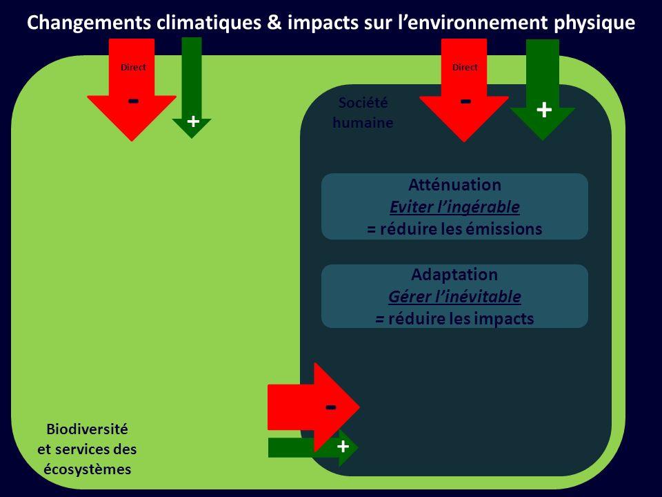 Société humaine + Financer les actions climats - Solutions dadaptation dingénierie + + Adaptation de la biodiversité au CC + - Solutions datténuation dingénierie Forêts, tourbières, etc.