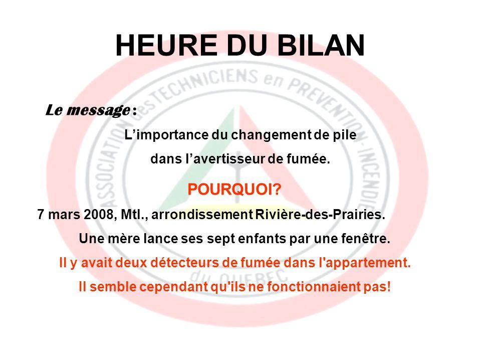 HEURE DU BILAN Le message : Limportance du changement de pile dans lavertisseur de fumée.