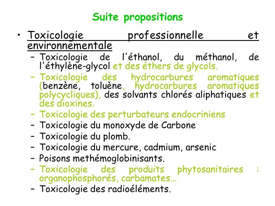 Suite propositions Toxicologie professionnelle et environnementale –Toxicologie de l'éthanol, du méthanol, de l'éthylène-glycol et des éthers de glyco