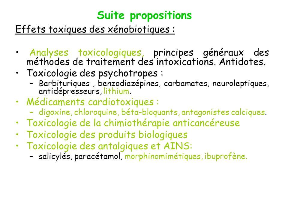 Suite propositions Effets toxiques des xénobiotiques : Analyses toxicologiques, principes généraux des méthodes de traitement des intoxications. Antid