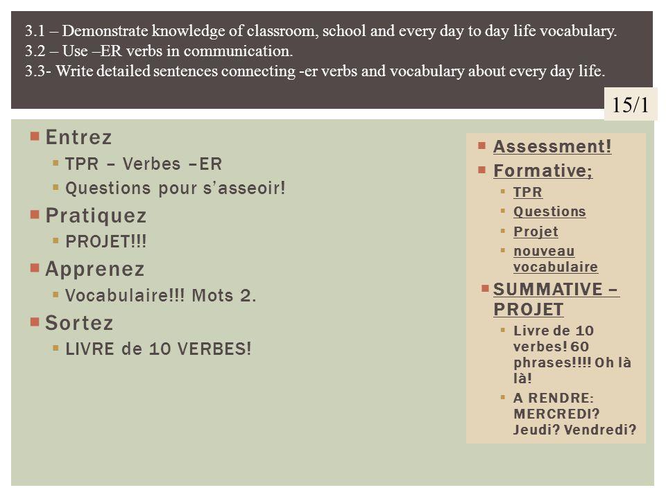 Entrez Créez une phrase avec.................. Pratiquez PROJET! Sortez et Réflexion! Vous comprenez que vous faites un livre? 10 verbes? 6 phrases ch