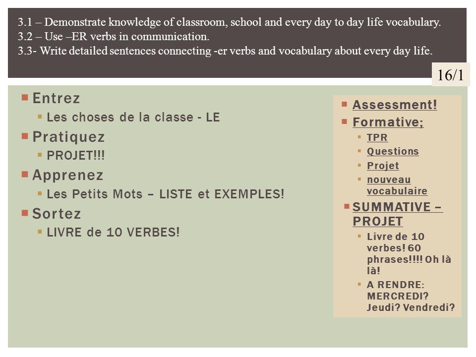 Entrez TPR – Verbes –ER Questions pour sasseoir! Pratiquez PROJET!!! Apprenez Vocabulaire!!! Mots 2. Sortez LIVRE de 10 VERBES! Assessment! Formative;