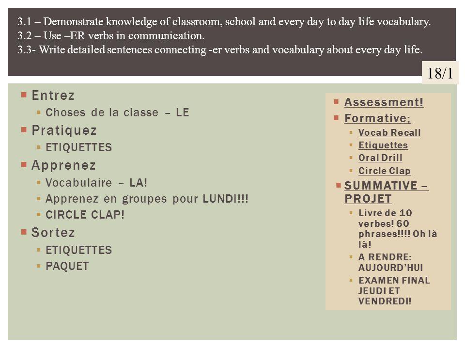 Entrez Choses de la classe – LE Conjuguez les verbes. Pratiquez VERBES –ER!! QUIZ!!!! au, du, à la, de la etc..... Apprenez Vocabulaire – LA! Sortez L