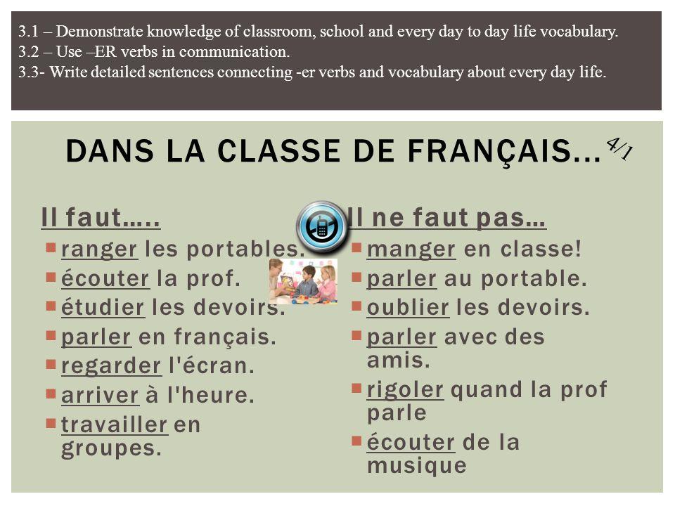 Il faut….. ranger les portables. écouter la prof. étudier les devoirs. parler en français. regarder l'écran. arriver à l'heure. travailler en groupes.