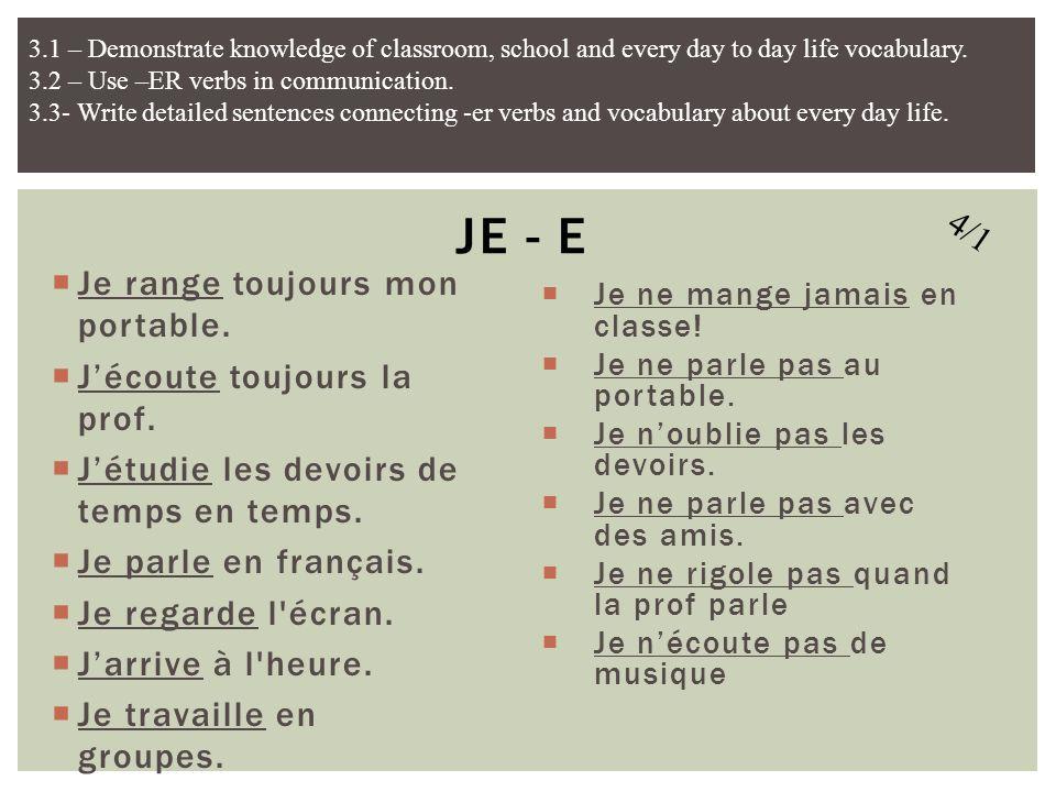 Rangez les portables! Ecoutez la prof! Etudiez les devoirs! Parlez en français! Regardez l'écran! Arrivez à l'heure! Travaillez en groupes! Ne mangez