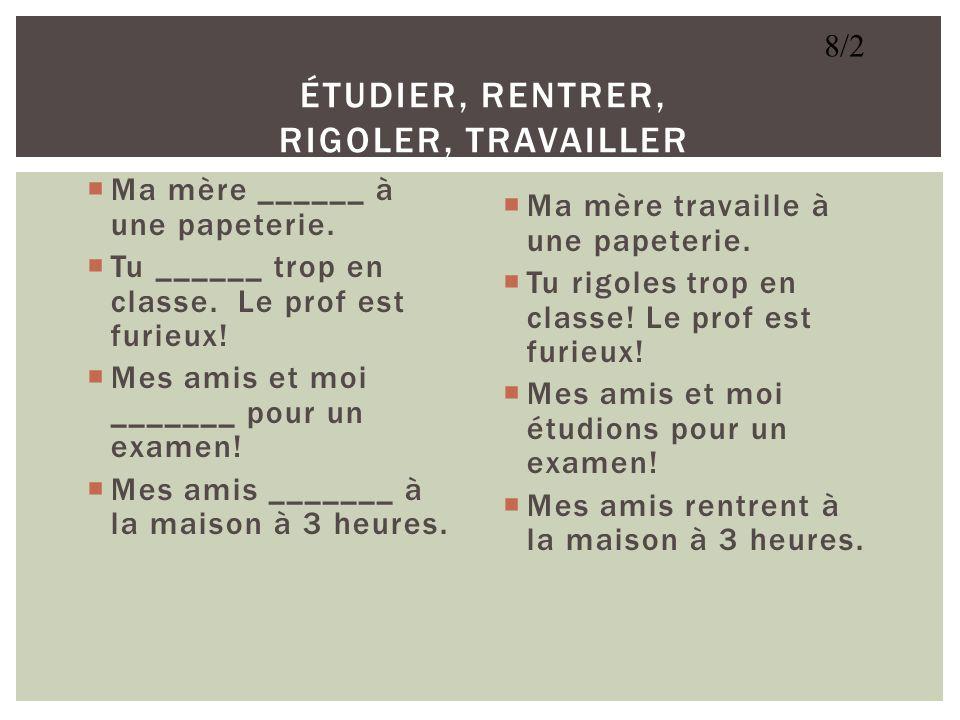 Au lycée Rogers, jétudie le français. Jaime beaucoup le cours. Cest très intéressant. Jarrive toujours à lheure à la classe. Les élèves et moi, parlon