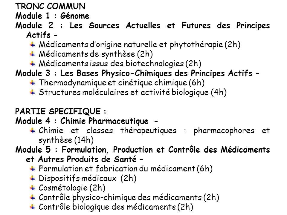 TRONC COMMUN Module 1 : Génome Module 2 : Les Sources Actuelles et Futures des Principes Actifs - Médicaments dorigine naturelle et phytothérapie (2h)