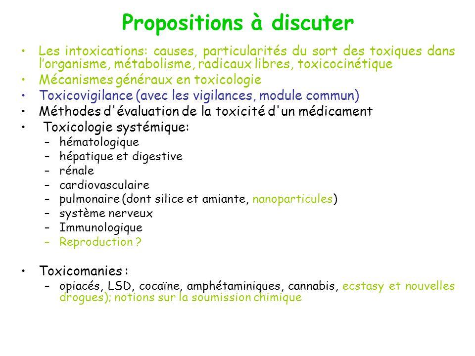 Propositions à discuter Les intoxications: causes, particularités du sort des toxiques dans lorganisme, métabolisme, radicaux libres, toxicocinétique