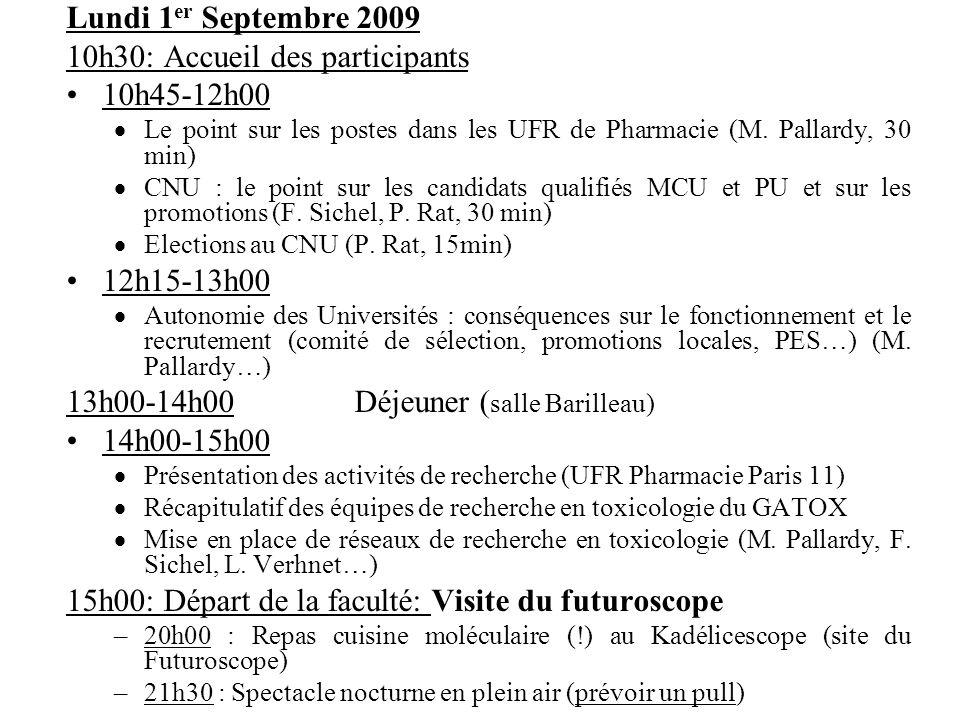 Lundi 1 er Septembre 2009 10h30: Accueil des participants 10h45-12h00 Le point sur les postes dans les UFR de Pharmacie (M. Pallardy, 30 min) CNU : le