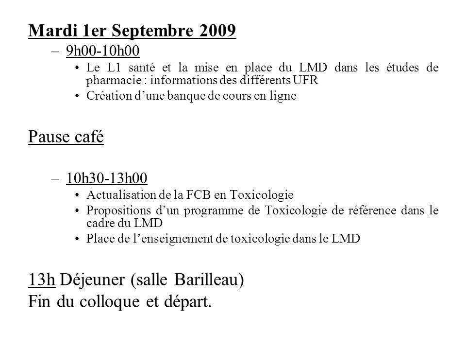Mardi 1er Septembre 2009 –9h00-10h00 Le L1 santé et la mise en place du LMD dans les études de pharmacie : informations des différents UFR Création du