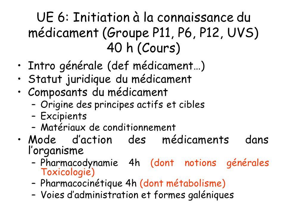 UE 6: Initiation à la connaissance du médicament (Groupe P11, P6, P12, UVS) 40 h (Cours) Intro générale (def médicament…) Statut juridique du médicame