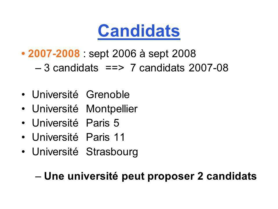 Candidats 2007-2008 : sept 2006 à sept 2008 –3 candidats ==> 7 candidats 2007-08 Université Grenoble Université Montpellier Université Paris 5 Univers