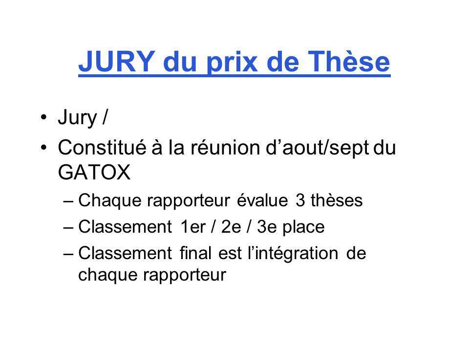 JURY du prix de Thèse Jury / Constitué à la réunion daout/sept du GATOX –Chaque rapporteur évalue 3 thèses –Classement 1er / 2e / 3e place –Classement