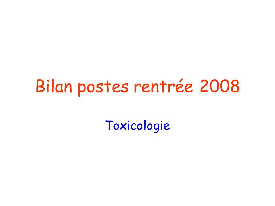 Bilan postes rentrée 2008 Toxicologie