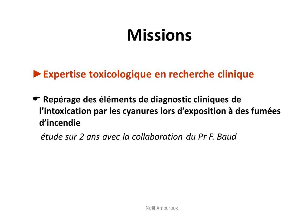 Missions Expertise toxicologique en recherche clinique Repérage des éléments de diagnostic cliniques de lintoxication par les cyanures lors dexpositio
