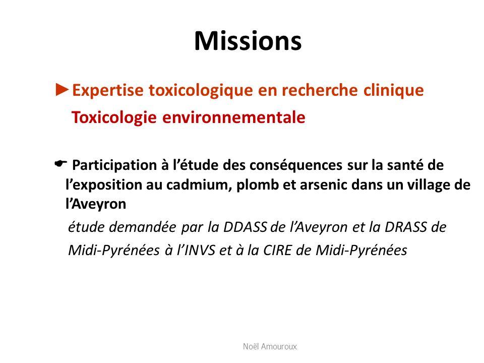 Missions Expertise toxicologique en recherche clinique Toxicologie environnementale Participation à létude des conséquences sur la santé de lexpositio